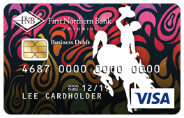 Multi-Colored Bucking Horse Debit Card Design in pinks, purples, reds, oranges and yellows