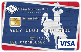 Bucking Horse Debit Card Design in Red, White and Blue