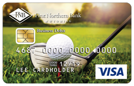 Golf Ball and Club on Grass Debit Card Design